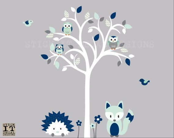 Owl tree decal Owl tree wall sticker Fox by StickItDecalDesigns