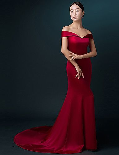 Formal Evening Dress Trumpet / Mermaid Off-the-shoulder Sweep / Brush Train Satin with Pleats 5028345 2016 – $171.59