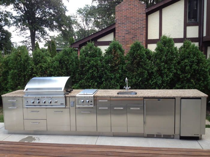 18 foot Stainless Steel Kitchen with granite top by Outdoor Dreamscapes.