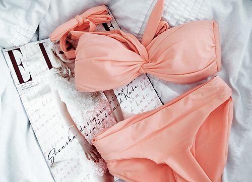 peach bikini: Pink Bikinis, Make Magazines, Color, Soft Pink, Swimsuits, Pale Pink, Bath Suits, Coral Bikinis, Fashion Magazines