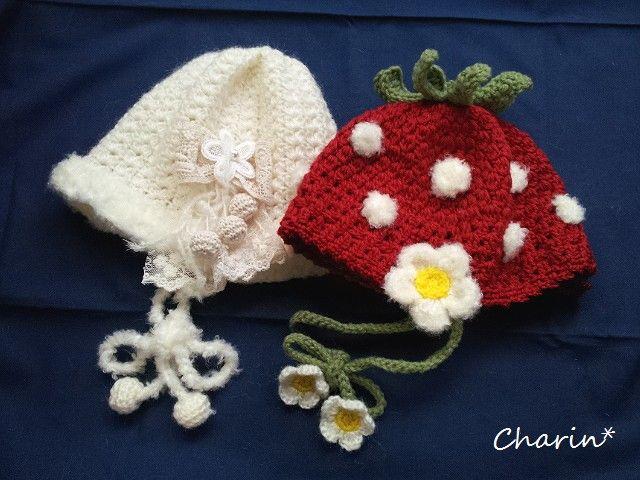 U様ご注文分* Charin Hand made *赤ちゃんのニット帽2点(イチゴのニット帽とホワイトコサージュつきニット帽) - 手作り雑貨ニットのお店 ~* Charin *~