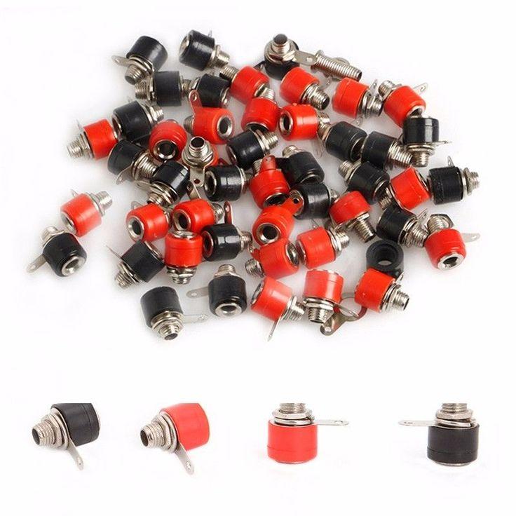 50 Adet 4mm Muz Paneli Soket Testi Probu Bağlama Sonrası Somun Fiş Jak Bağlantısı-S018 Yüksek Kalite