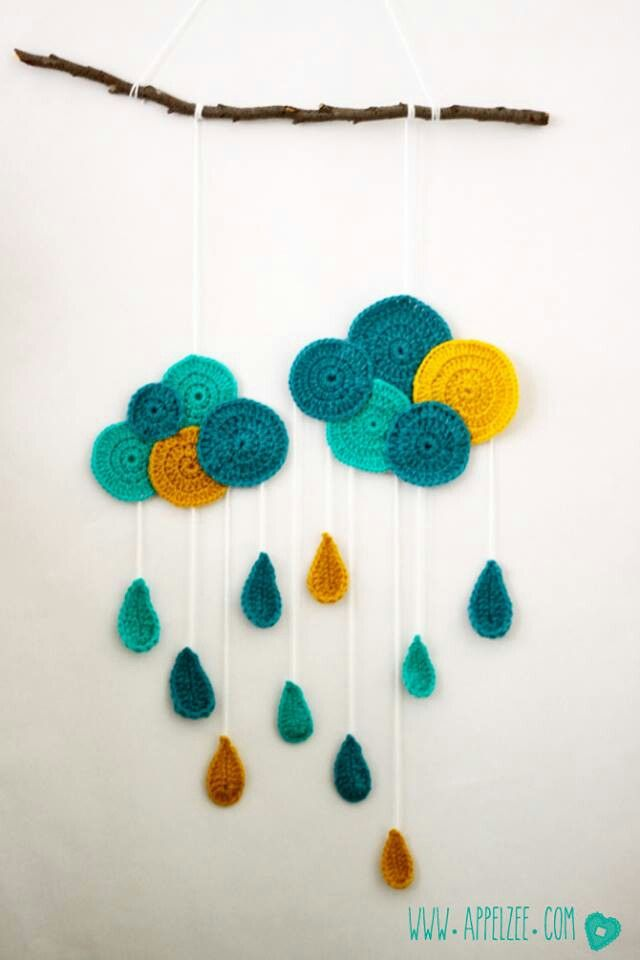 crochet cloud and rain wall hanging