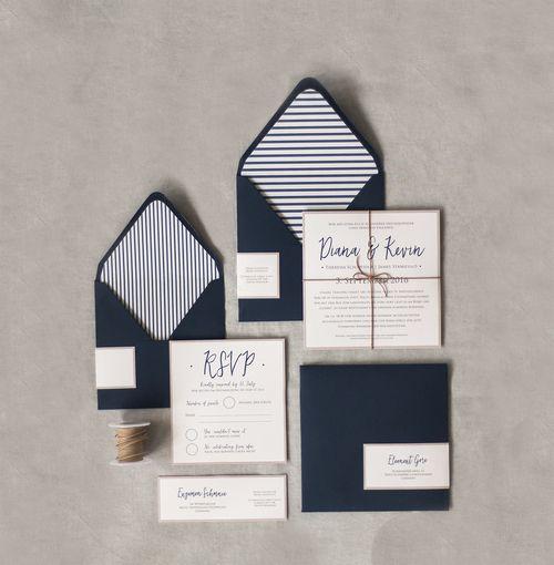 Einladung Hochzeit Blau weiß Seemann - Von Anmut und Sinn