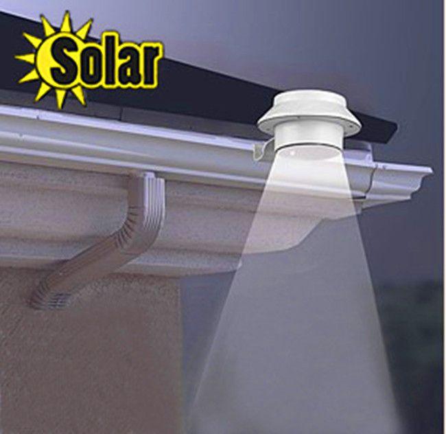 Новый Открытый Солнечной энергии 3 LED Холодный Белый/Теплый Белый Свет Забор Водостоков Сад Двор Крыша Настенный Светильник Света бесплатная Доставка