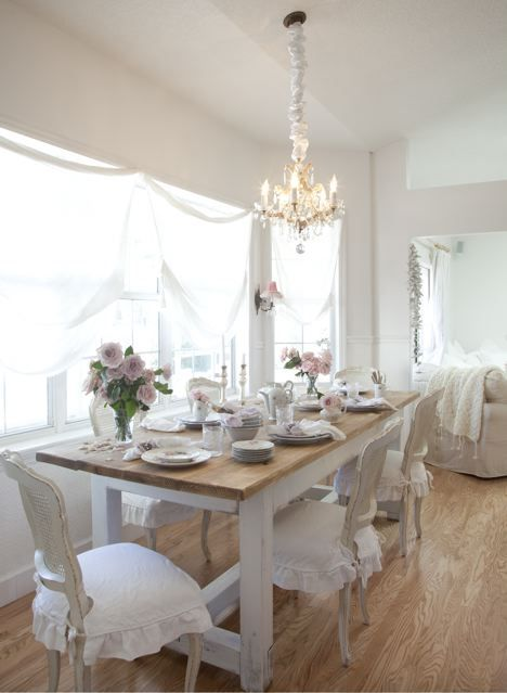 Love this Romantic Rustic Dining Room  Rustic Dining RoomsWhite Dining RoomsKitchen  Dining RoomsShabby Chic  Best 25  Shabby chic dining room ideas on Pinterest   Shabby chic  . Shabby Chic White Dining Room Chairs. Home Design Ideas