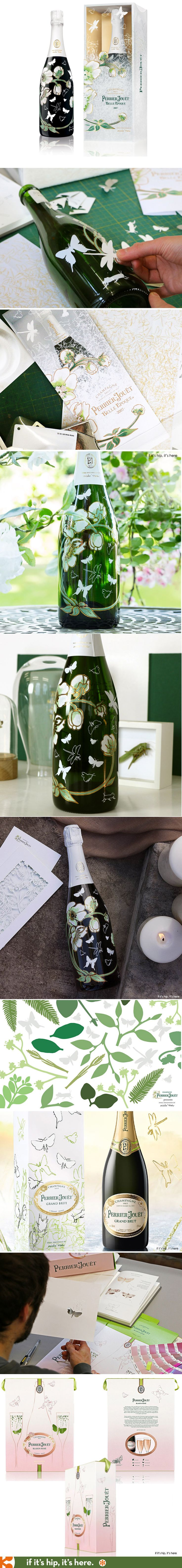 mischer'traxler studio's bottle and packaging for Perrier Jouet's Vintage 2007 Belle Epoque, Blason Rosé and Grand Brut. Videos and more at the link.