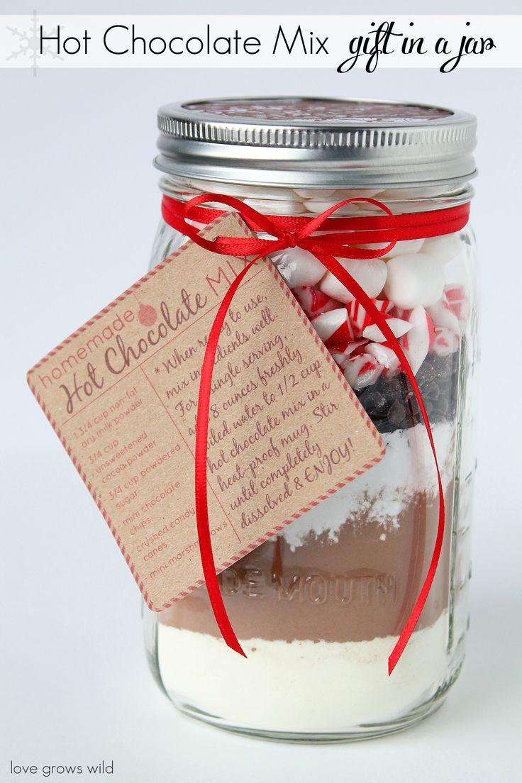 Homemade Hot Chocolate Mix in a Mason Jar - a perfect holiday gift idea!