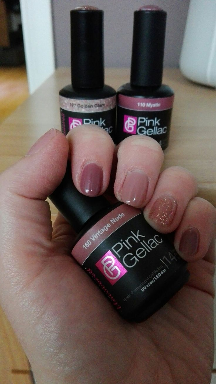 Pink gellac, vintage nude, golden glam en mystic