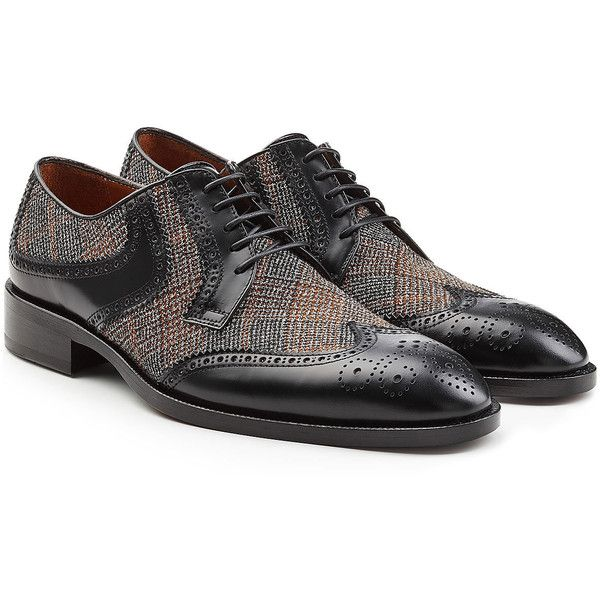 Etro Leather Brogues (18.105 RUB) ❤ liked on Polyvore featuring men's fashion, men's shoes, men's oxfords, multicolored, mens leather lace up shoes, mens brogue shoes, mens leather shoes, mens lace up shoes and mens black leather shoes