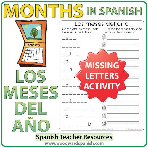 Spanish Months – Missing letters and month order activity  Los meses en español –Completa los meses con las letras que faltan.Escribe los meses del año en el orden correcto.
