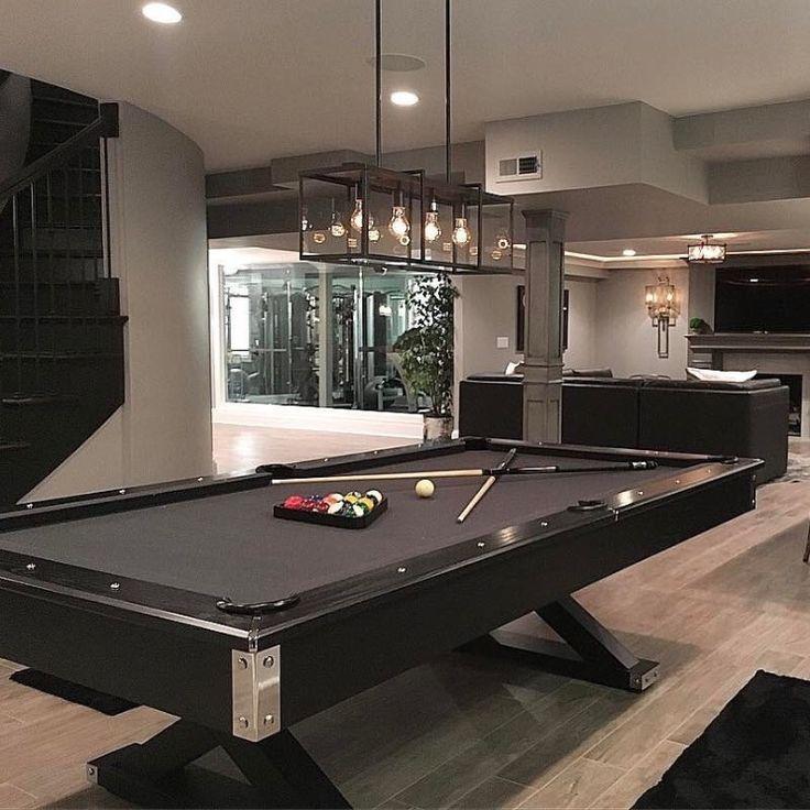 Gray Modern Pool Table Room