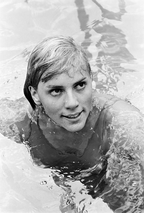 "Christine ""Kiki"" Caron (1948) - French former backstroke swimmer (silver medal 1964 Summer Olympics). Photo by Jean-Claude Deutsch, 1965"