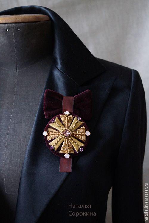 Купить Брошь-орден с опалами, аметистами и старинным золотом. - бордовый, брошь, брошь-орден