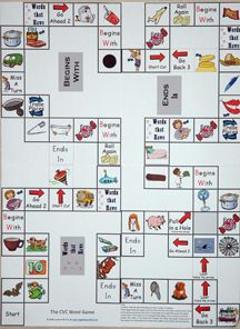 Consonant-vowel-consonant game board to help with vocab, beginning and endings etc.