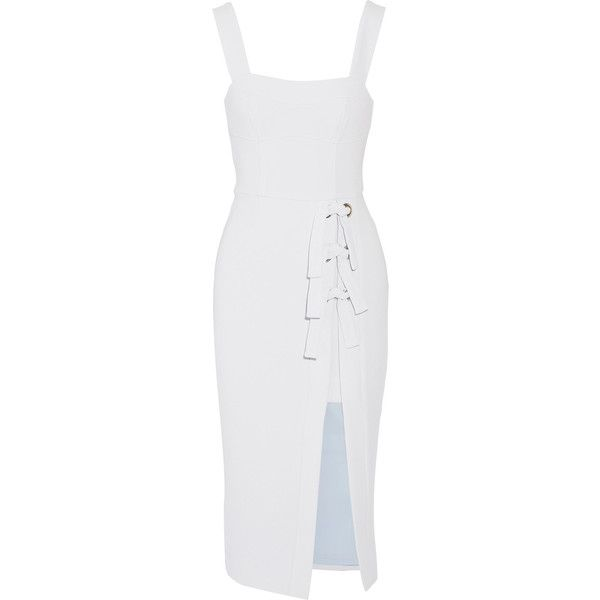 Rebecca Vallance Billie bow-embellished stretch-crepe dress (1.500 RON) ❤ liked on Polyvore featuring dresses, blue, night out dresses, strap dress, strappy dress, party dresses and going out dresses