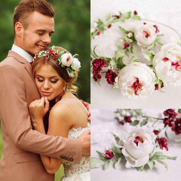 """Купить Комплект свадебных аксессуаров """"Маргарита""""-венок на голову, бутоньерка - кремовый, ободок с цветами"""