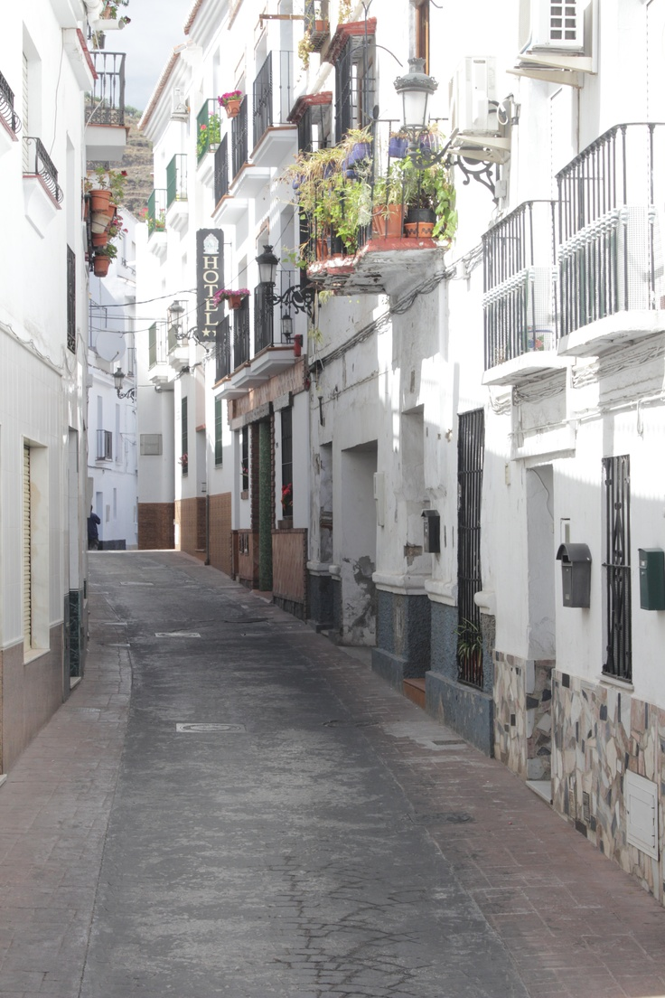 The meandering, ancient streets of Torrox Pueblo in Andalucia, along the southern Spanish coast