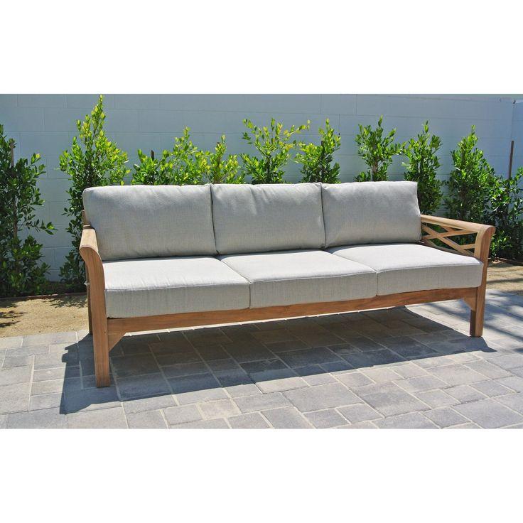 Sunbrella Navy Loveseat: Willow Creek Designs Monterey Teak Sofa With Sunbrella