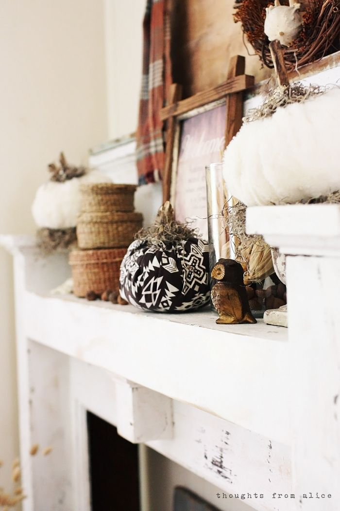 Thoughts from Alice: Rustic Fall Mantel Vignette - Rustic Boho Autumn Decor
