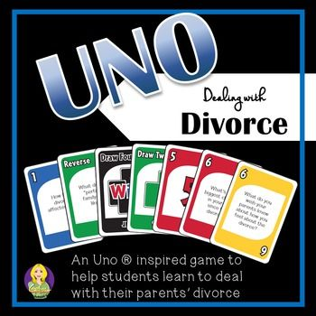 Dealing With Divorce Uno is an Uno  inspired game that your students will love playing!  As students play, they are asked to answer questions that ask questions related to divorce and separation issues that students may be experiencing and will help you to facilitate discussion regarding how to handle different situations and emotional regulation.