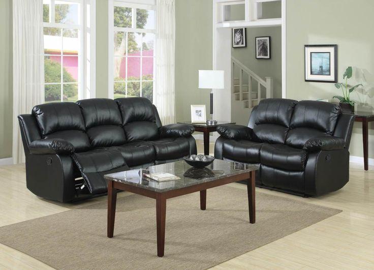 Cranley Black Wood Bonded Leather Living Room Set