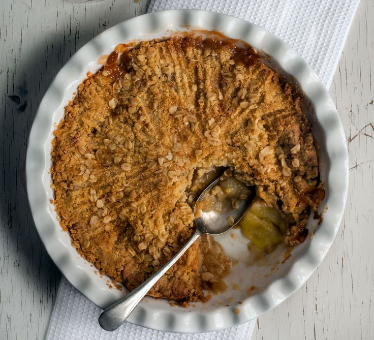 You can't beat the traditional apple filling topped with crispy, buttery crumble - classic comfort food at its best