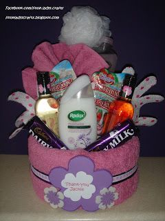 Mother's Day? Bubble bath, burt's bees lip balm, chocolate, magazines, candle, book, DVD, flowers, nail polish