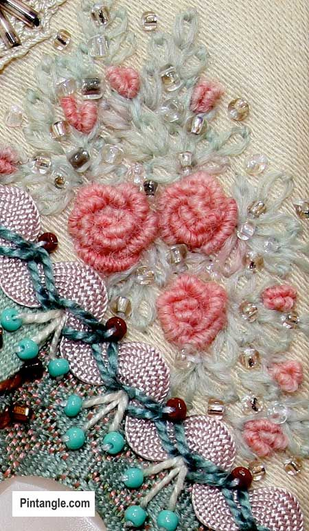 04/26/16 embellishment in heave fabrick, beautiful combination of colors// Bullion knot stitch sample bullion roses