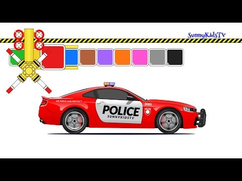 cars and trucks for kids police car learn colors videos for children youtube