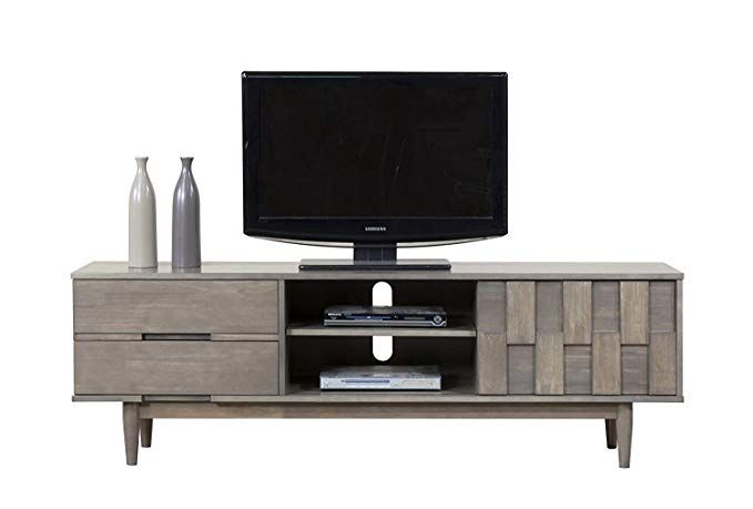 Modhaus Living Mid Century Danish Style Wood 70 Inch Media Console Tv Stand In Rich Gray Finish With 2 Drawers Includes Pen Review