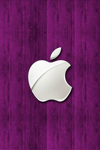 wallpaper iPhone Purple Apple Wood