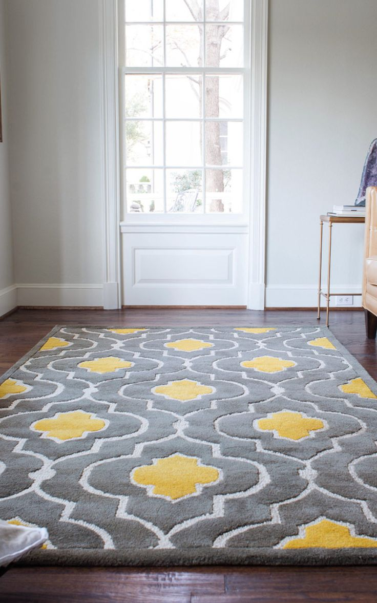 Gorgeous floor rug, yellow gray rug, Wayfair OMG CAN I PLEASE HAVE THIS!? This would be stunning in my dining room