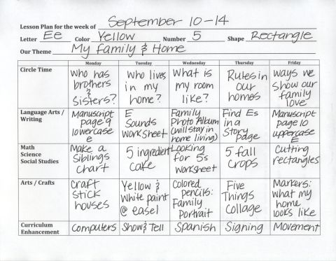 Pre-K Lesson Plan Sample - click on the RED SENTENCE at the beginning of this post for the blank template.