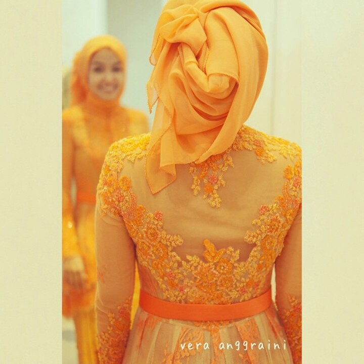 Orange Kebaya for Hijabi  By House of Vera