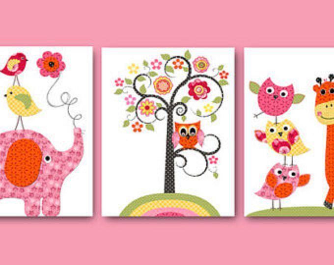 Art for Children Kids Wall Art Baby Girl Room Decor Baby Girl Nursery Decor Nursery print set of 3 Print turtle owls decoration rose nursery playroom art decor  *** UNFRAMED - THIS PRINT IS ON PAPER OR ON CANVAS *** 580 714 806  To return to my shop, click here: http://www.etsy.com/shop/artbynataera  Set of 3 print in inches . Theres an extra 1/8 in. white border around the print to ease framing.IMPORTANT: This is a print made on matte photo paper that will need to be framed. ● SIZE FOR EACH…