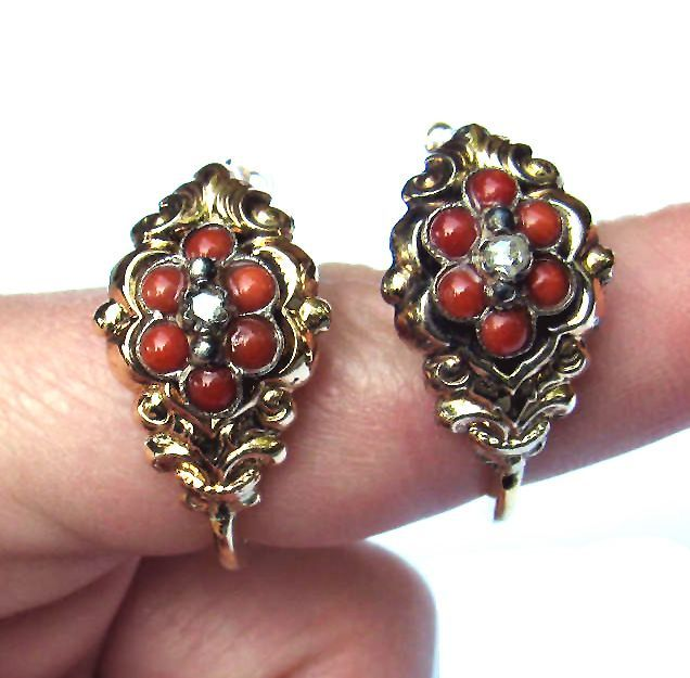 PRISTINE Late Georgian Carnelian/Diamond/15k Hoop Earrings, 5.62 Grams, c.1830!
