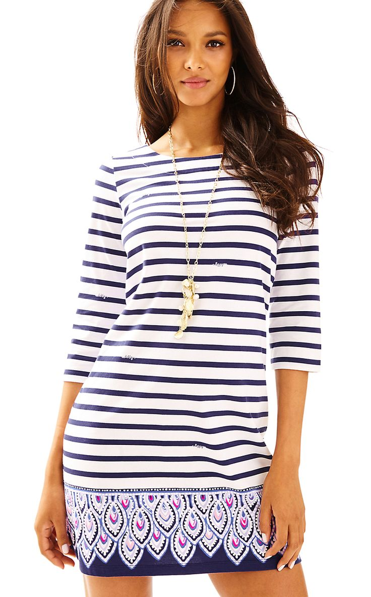 Lilly Pulitzer BAY DRESS in SERENE STRIPE ENGINEERED, BRIGHT NAVY @thepinkpelican