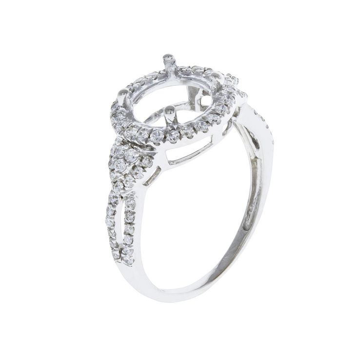14k White Gold Diamond Halo Engagement Ring Setting Semi Mount  0.50ct  Size 5.5 #UniQJewels #SolitairewithAccents