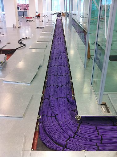 Excellent data cable run. Purple Ethernet under the floor.
