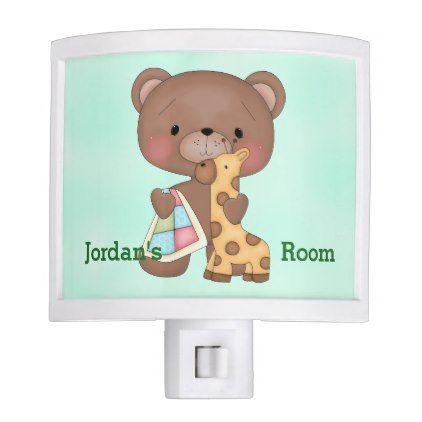 Kid's Night Lite Cute Baby Teddy Bear Giraffe - kids kid child gift idea diy personalize design
