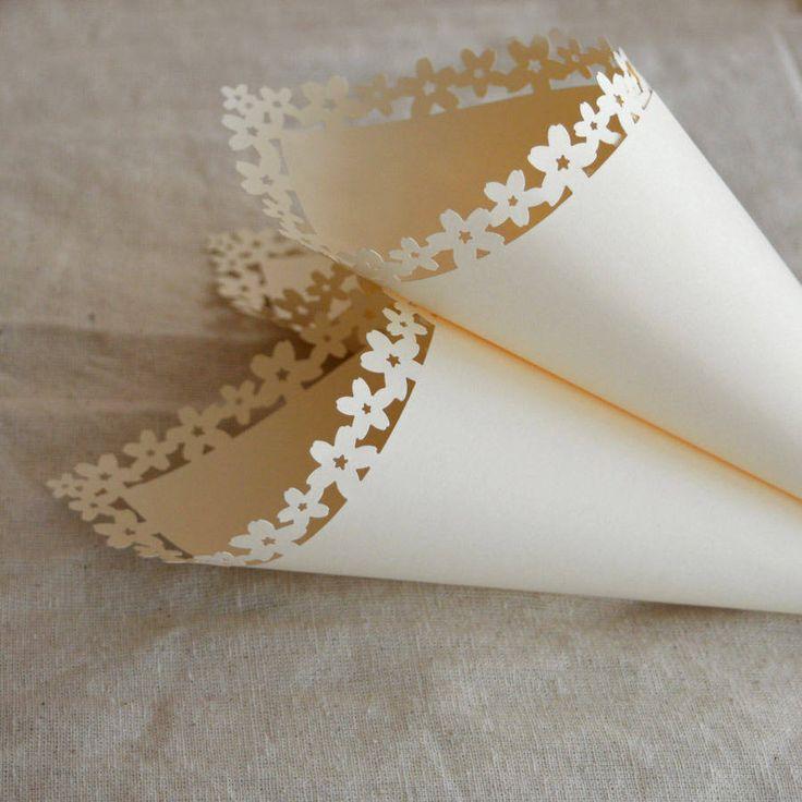 Cream Confetti Cones With Flower Edge