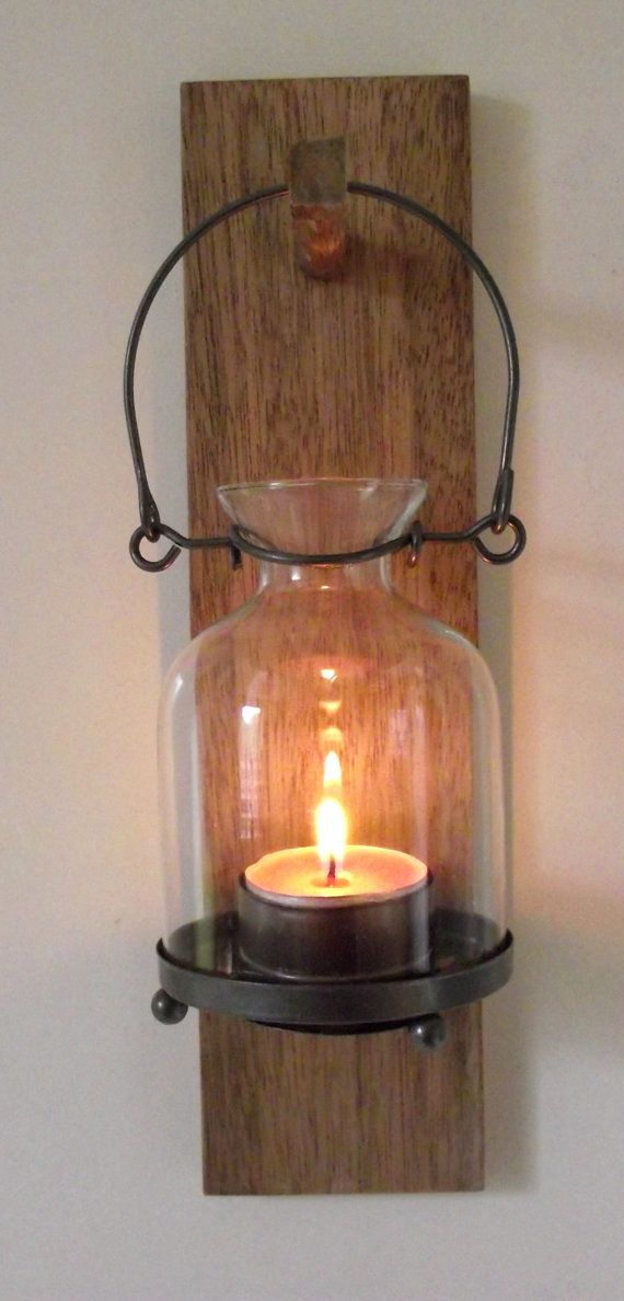 Rustic Wooden Candle Sconce Mahogany Candle Holder Cabin