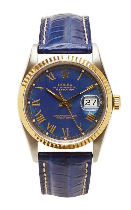 Vintage Rolex Stainless Steel And 18K Yellow Gold Quickset Datejust With Rare Blue 'Buckley' Dial by CMT Fine Watch and Jewelry Advisors for Preorder on Moda Operandi