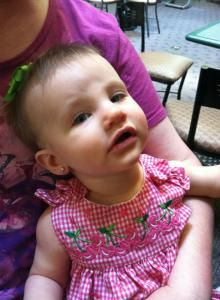 Baby Ear Piercing: Our Experience. Lisa shares the story of when she got her daughter's ears pierced. http://threeladiesandtheirbabies.wordpress.com. #earpiercing #parenting #baby