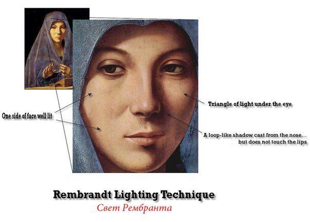 Свет Рембрандта назван в честь художника, который часто использовал такой вид освещения для портретов. Тень от щеки и носа совпадают, в результате на щеке появляется небольшой освещенный «треугольник». Нужно, чтобы блик от источника света был виден в обоих глазах модели. Эта схема используется для выразительных и эмоциональных портретов. Такое освещение очень украшает лицо, особенно если у модели высокие скулы. Источник света над головой, а тень (падающая от носа) должна быть при этом на…