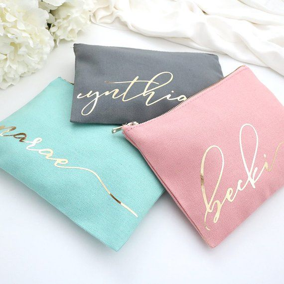 Personalized Monogram Makeup Cosmetic Bag – Cursive Script CUSTOM NAME Teal Blush Pink Gray Cosmetic Bag – Best Friend Gift, Bridesmaid Gift