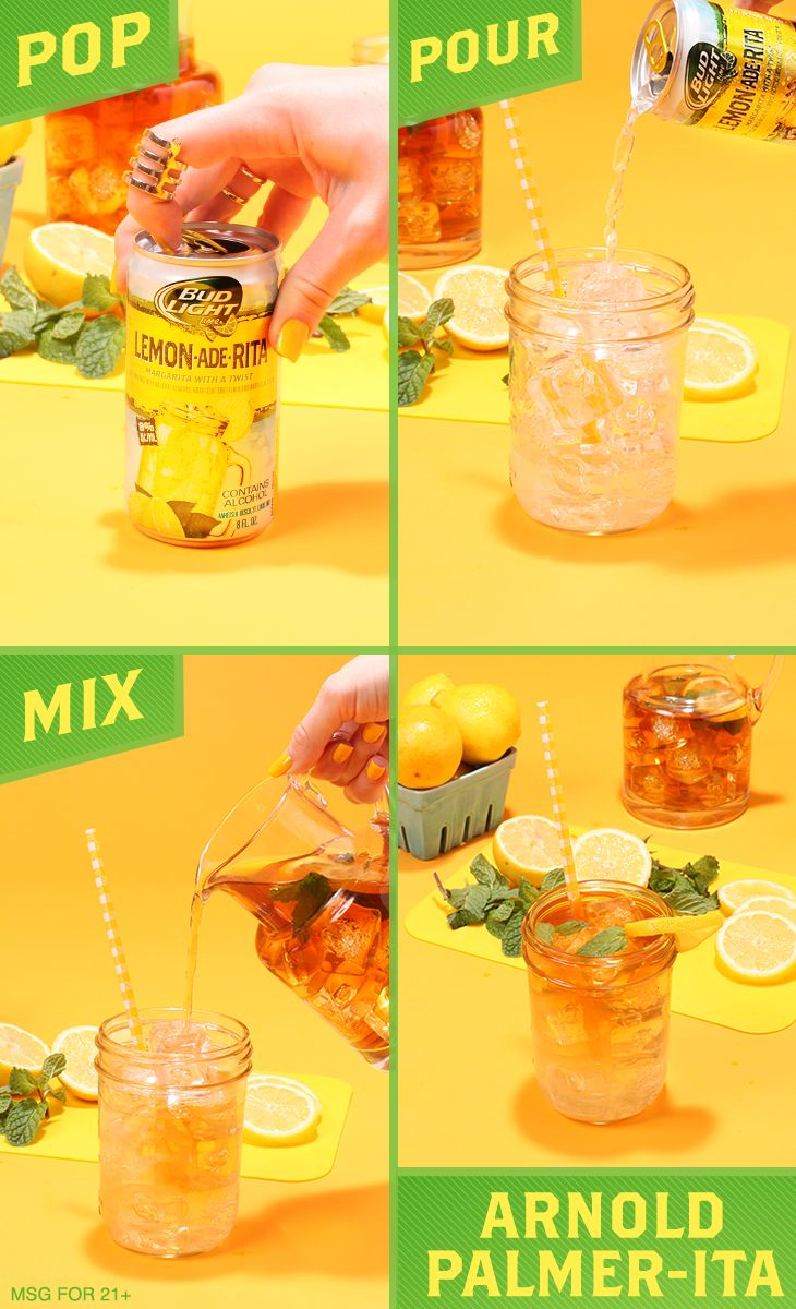 Craving a refreshing grown-up Arnold Palmer cocktail recipe? 1) Mix equal parts Bud Light Lemon-Ade-Rita with unsweetened iced tea. 2) Stir. 3) Pour over ice. 4) Garnish with a lemon wheel and enjoy!