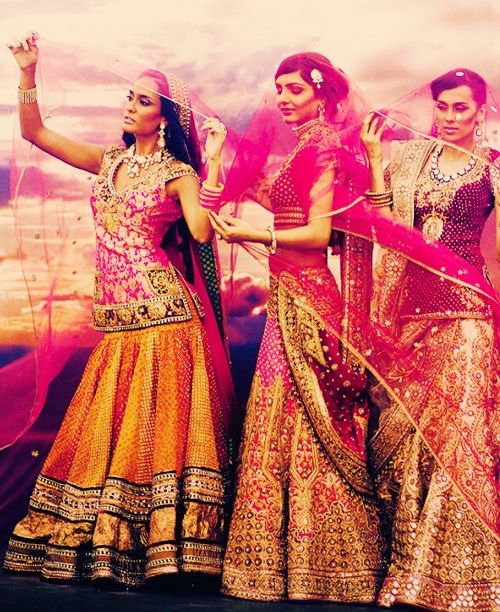 Orange pink  yellow lehengas