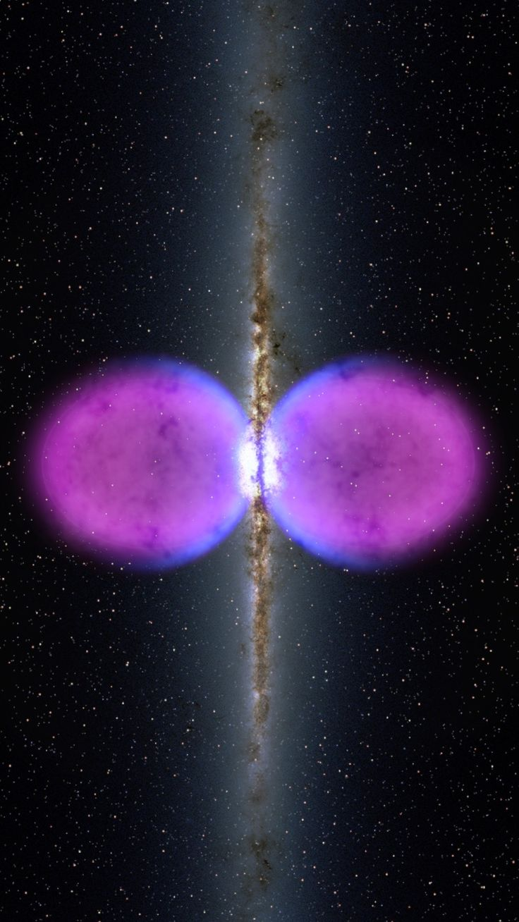 NASA's Fermi Gamma-Ray Space Telescope has unveiled a previously unseen structure centered in the Milky Way. The feature spans 50,000 light-years (roughly half of the Milky Way's diameter) and may be the remnant of an eruption from a supersized black hole at the center of our galaxy. The structure spans more than half of the visible sky, from the constellation Virgo to the constellation Grus, and it may be millions of years old.